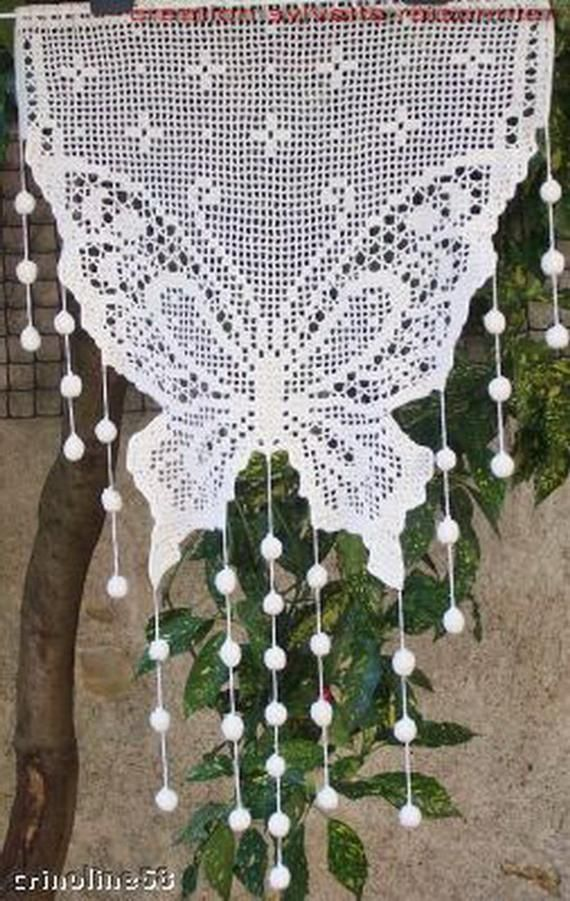 CROCHET curtain handmade french craft creation sylvette Raisonnier model Hummingbird
