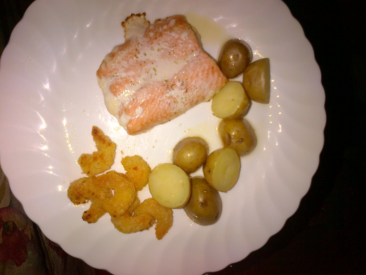 Peppered Salmon and Breaded Shrimp paired with roasted potatoes