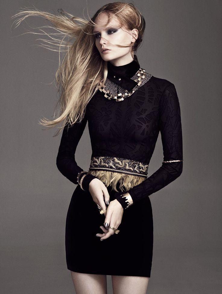 V neck black dress editorial