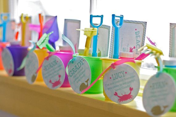 Whale/crab party: Whales Crabs Parties, Birthday Parties, Parties Favors, Beaches Parties, Whales Parties, Parties Ideas, Pools Parties, Favor Tags, Favors Tags