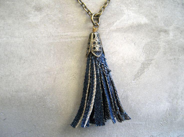Denim Tassel Necklace - Blue Jeans Necklace - Levis - Long Tassel Necklace - Brass - Piece Lust. $20.00, via Etsy.