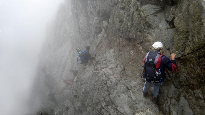 on the Eagel's Path - the most difficult hiking trail in Tatra Mountains, Poland.