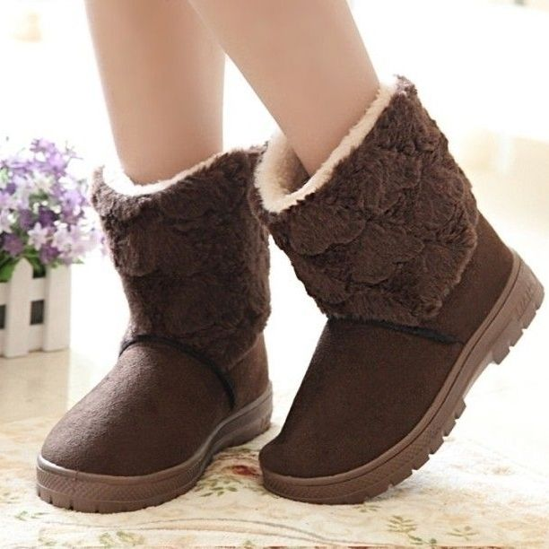 Comfortable Casual  Fur Flat-boot Flat Boots from fashionmia.com
