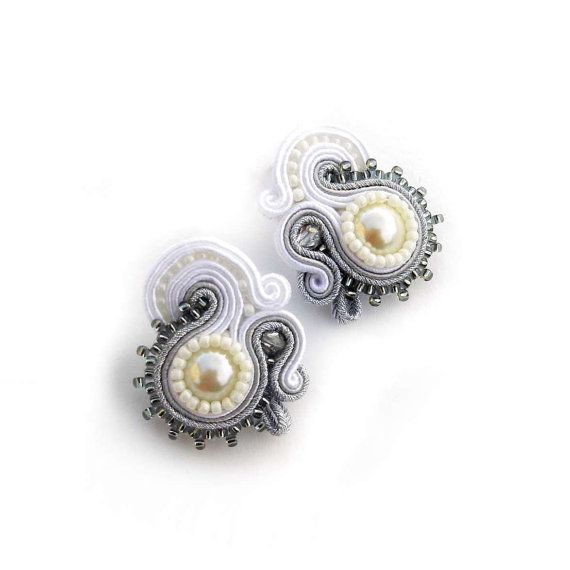 NEW Bridal Jewelry Soutache Earrings White Silver by AdityaDesign