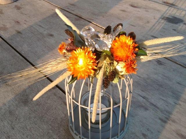 cage a oiseaux photophore grise décorée de fleurs séchées tons orangés : Accessoires de maison par creat-tine