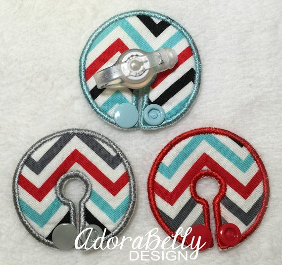 Chevron Gtube Pads G Tube Covers Red Blue Gray by AdorabellyDesign