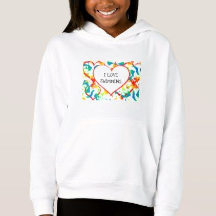 I Love Swimming Sports Editable Modern Abstract Hoodie - modern gifts cyo gift ideas personalize