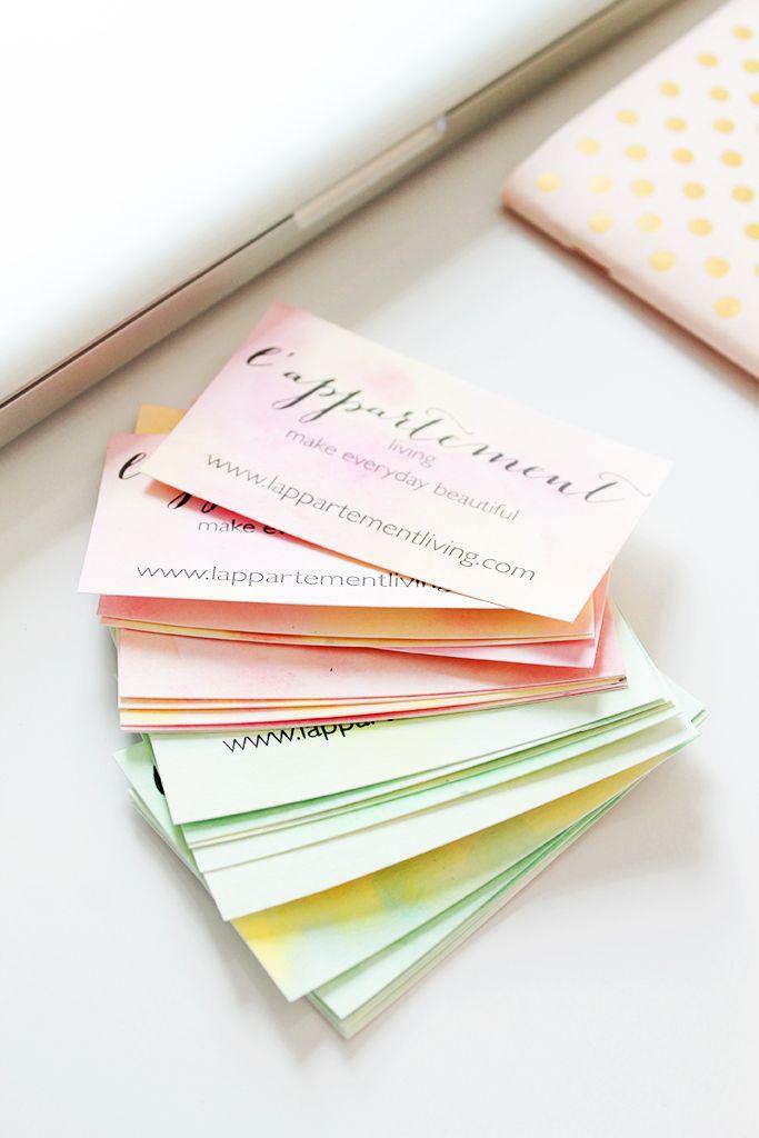 DIY: Fabriquer des cartes de visite aquarelle // How to make watercolor business card
