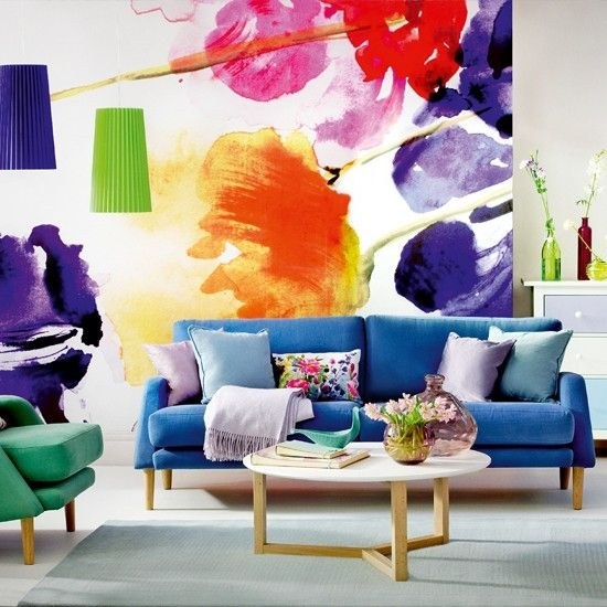 13 creative ideas for living room wall decorating with floral motifs