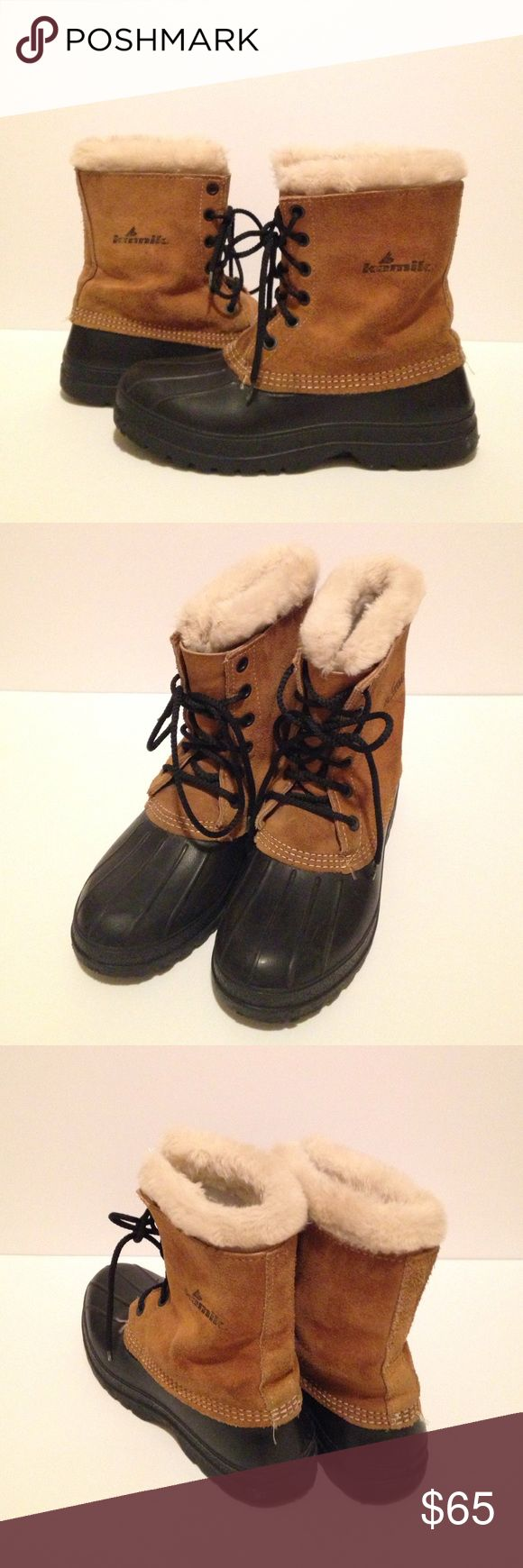 Kamik Winter Snow Boots Kamik made in canada leather snow/winter boots, super warm and comfortable, in great used condition, size 8. Kamik Shoes Winter & Rain Boots