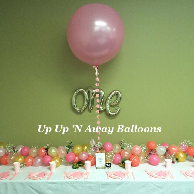 1st Birthday Balloon Garland and 3ft Pearl Pink Balloon.