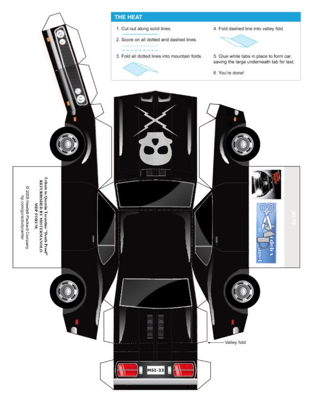 paper crafts templates | Papercraft Death Proof Car Template Preview