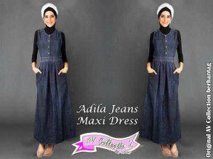 Baju Gamis Murah S115 Adila Jeans Maxy Dress