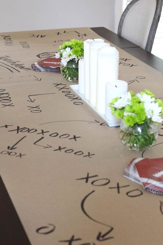 Gameday Decor - we love this tablecloth idea for a game day party or a tailgating party.