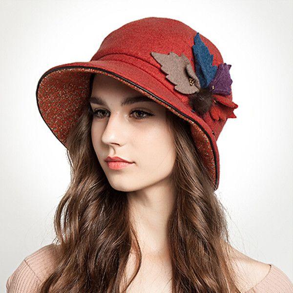 Winter leaves bucket hat for women leisure bowler wool hats