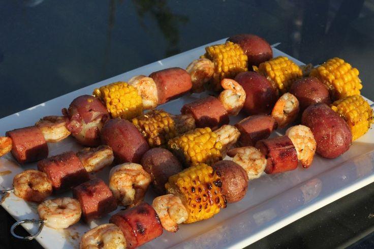 Grilled Shrimp-Boil Skewers Recipes — Dishmaps