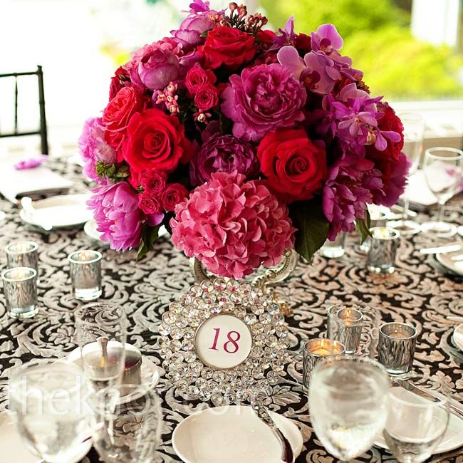 60 best theme berry tones with gold wedding images on pinterest pink and red centerpiece with black and white damask table cloth junglespirit Image collections