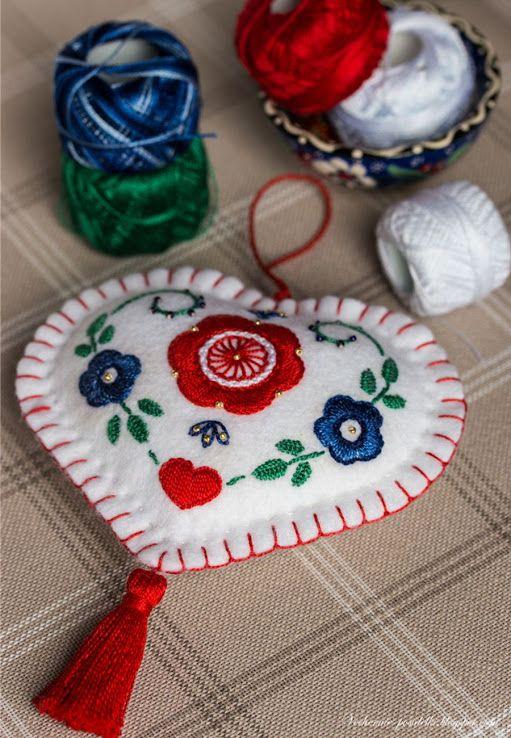 folk art embroidered heart ornament