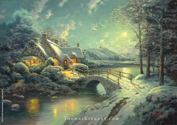 """In 'Christmas Moonlight' man and nature work together to confirm the warm, inviting, generous mood of Christmas Eve. Distant barns remind us of God's bounty. The silence is pervasive … wait, is that Santa's sleigh we hear in the distance?"" -Thomas Kinkade   Learn more: https://thomaskinkade.com/art/christmas-moonlight/?ref=13"