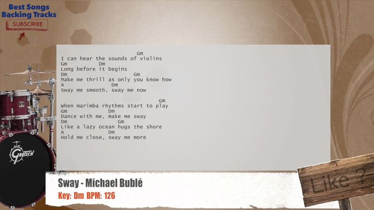 Sway - Michael Bublé Drums Backing Track with chords and lyrics
