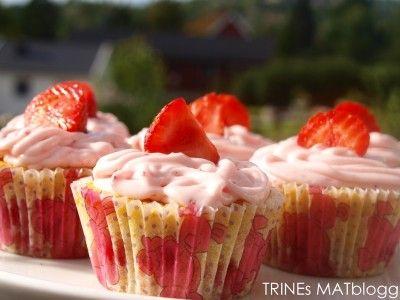 » Jordbærcupcakes og matchende cupcakessko