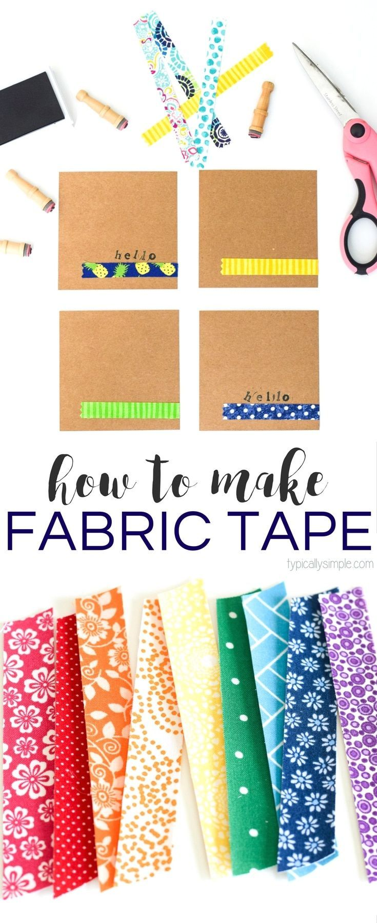 Fabric tape is a great way to add some fun colors and patterns to packages, envelopes, notecards, or even your planner! This tutorial gives you a list of supplies and directions for DIY fabric tape - a great way to use up some of those fabric scraps!