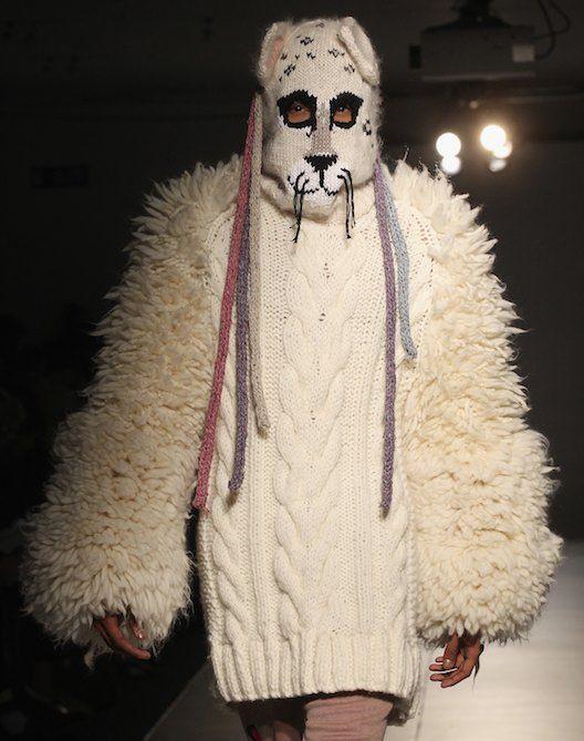 graduating senior Hannah Taylor's wild knit at the Royal College of Art BA fashion show