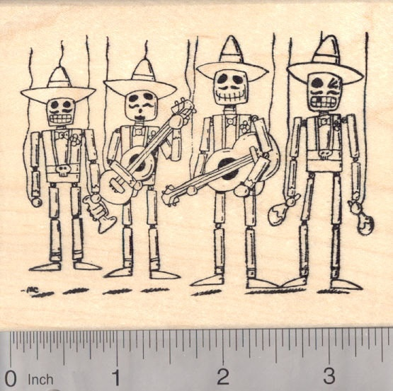 Day of the Dead Mexican Mariachi Band Rubber by Rubberhedgehog, $15.00