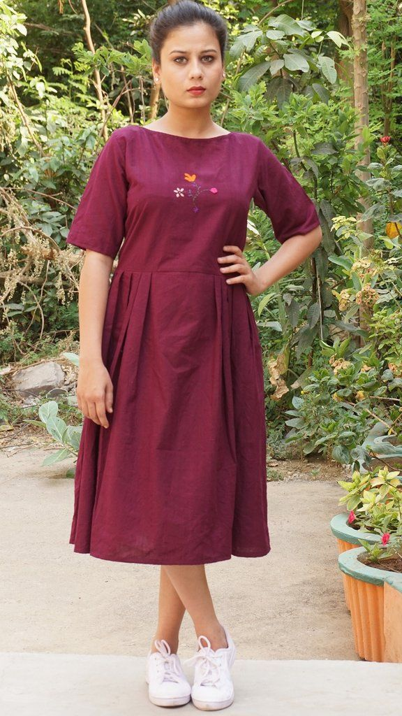 34161a19e294 Embroidered Maroon cotton short dress