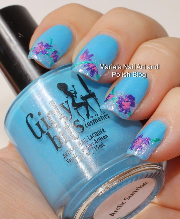 Marias Nail Art and Polish Blog: Floral French nail art in the Arctic Sunrise