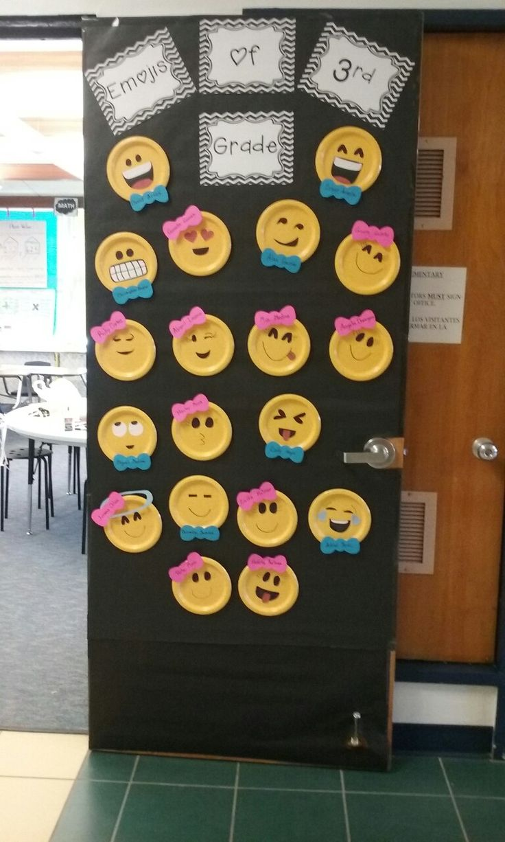 Classroom decoration for grade 6 - Emojis Of 3rd Grade Yellow Paper Plates From Dollar General And Construction Paper For Faces