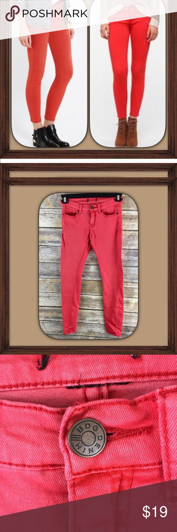 BDG Red/Orange Skinny Jeans GUC Red/Orange skinny jeans. Does not have size tag Please read measurements. Approximately 26 inch waist ( seen in last picture) 8 inch rise. 29 inch inseam. BDG Jeans Skinny
