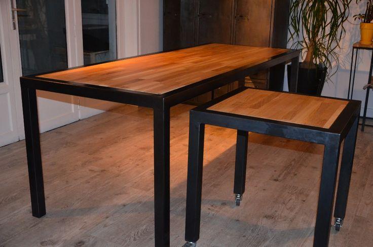 Table manger l 39 esprit industriel et moderne en bois et m tal r alis e - Table en bois sur mesure ...
