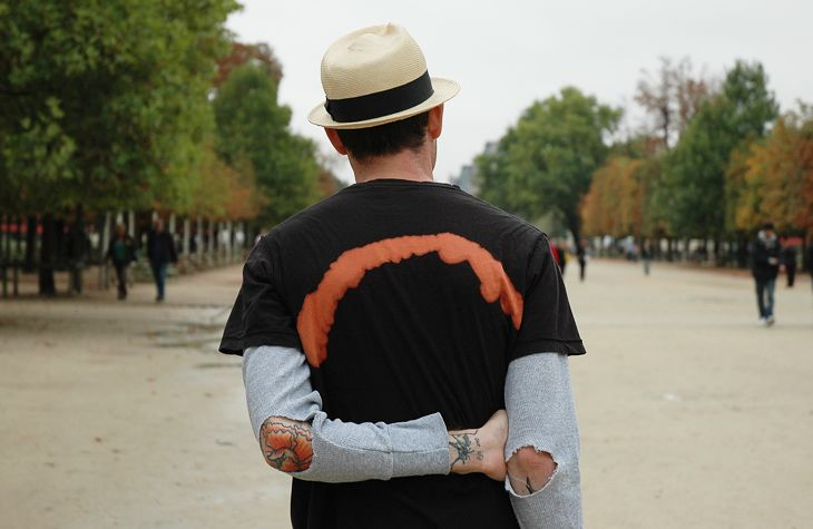 Paris Street photo - Bleach and suede elbow patches.