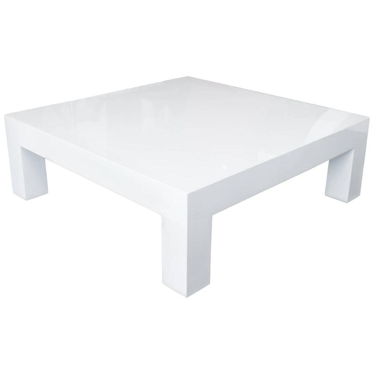 Square Lacquered Parsons Style Coffee Table