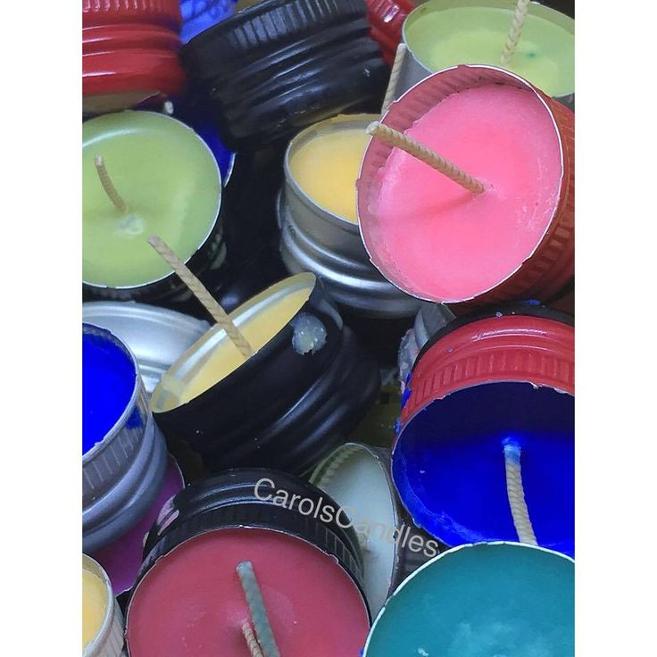 Lots of lovely colours and scents in my wine lid tea light candles.  carolscandles2@gmail.com