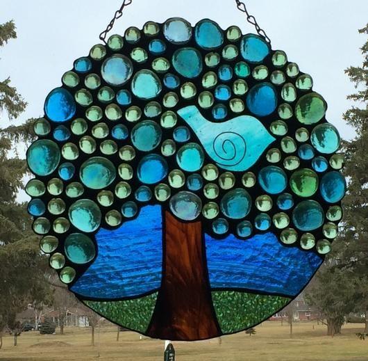 """Summer Bluebird - 11"""" Round Stained Glass Suncatcher"""