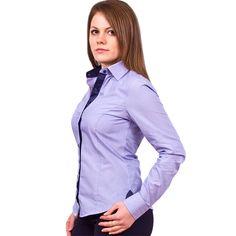 Женская рубашка Poggino приталенная цвет голубой в горошек
