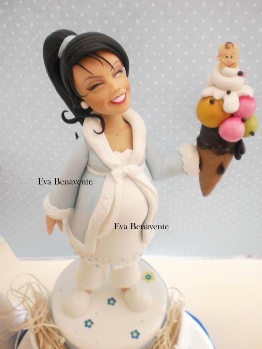 Fondant Pregnant Woman Cake Topper