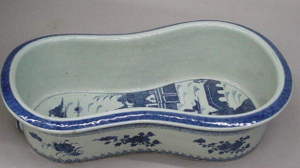 Antique CANTON FOOT BATH. Hourglass shaped with blue on white porcelain I suspect it's a bidet, based on the shape.