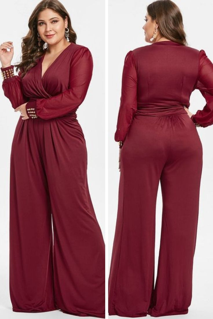 7f7e34b7feb Plus Size Long Sleeves Surplice Jumpsuit with Rivets  plus size jumpsuit  wedding long sleeve  plus size jumpsuit wedding online shopping  plus size  jumpsuit ...