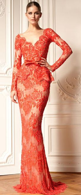 Zahir Murad long lace evening dress.