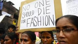 Connie: This is an image of the protests that took place in Bangladesh regarding garment workers rights. The statement on the sign is very powerful because it is so simple and direct that it cant be argued with.