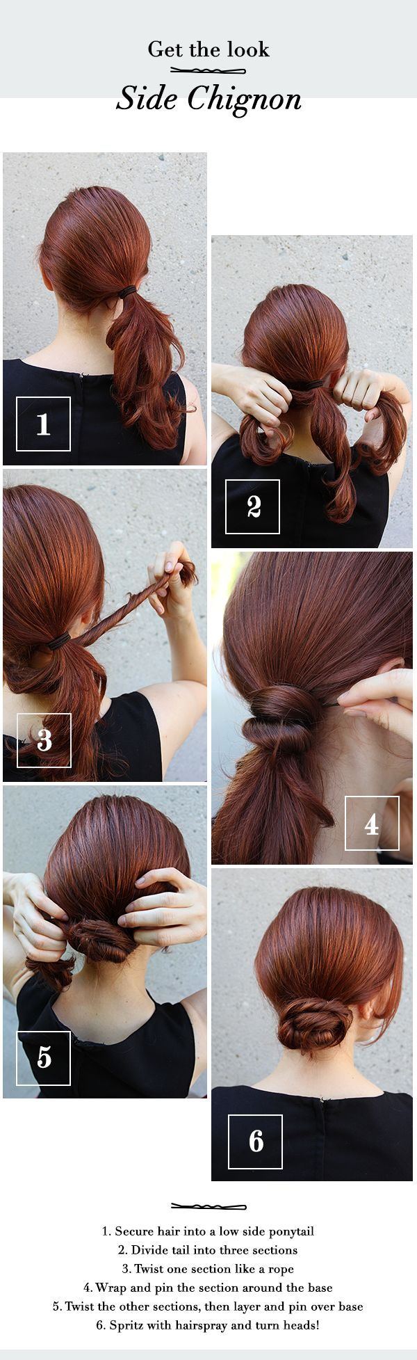Get the look! How to style a side chignon in 6 easy steps: http://www.esalon.com/blog/get-the-look-side-chignon/
