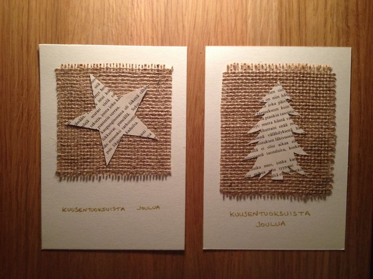 Joulukortti vm. 2012 kirjansivujen uusiokäyttöä