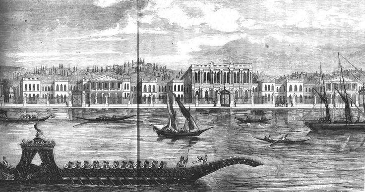 1858 yılında çizilen İstanbul Dolmabahçe Sarayı gravürü Saltanat kayığı ve yelkenliler