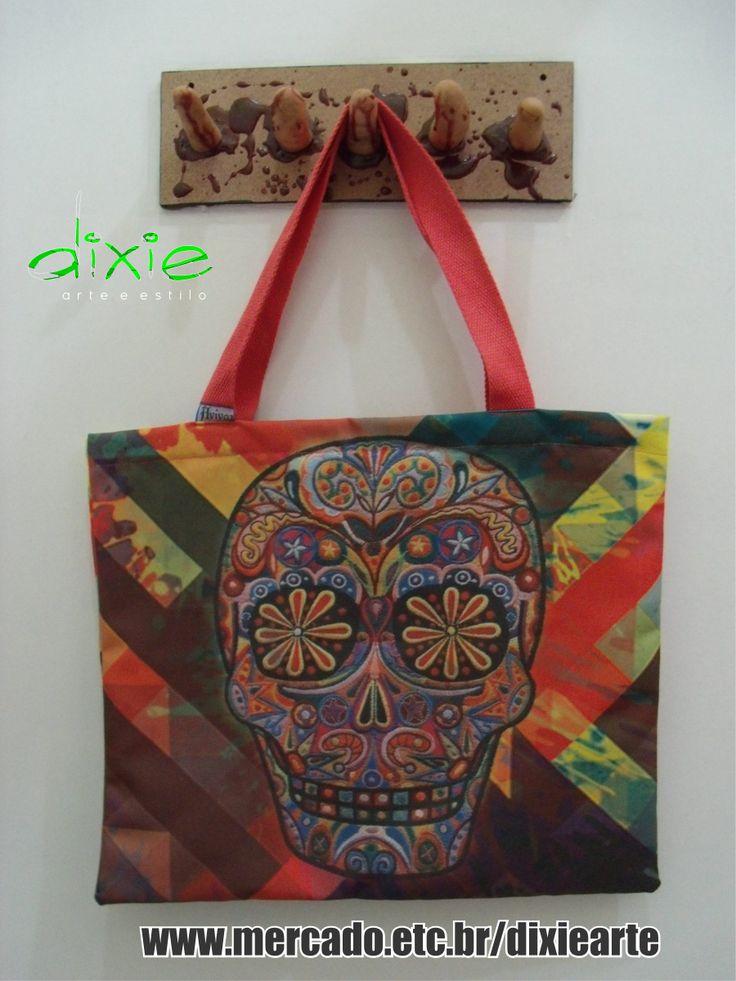 Bolsa Caveira Mexicana  www.elo7.com.br/dixiearte