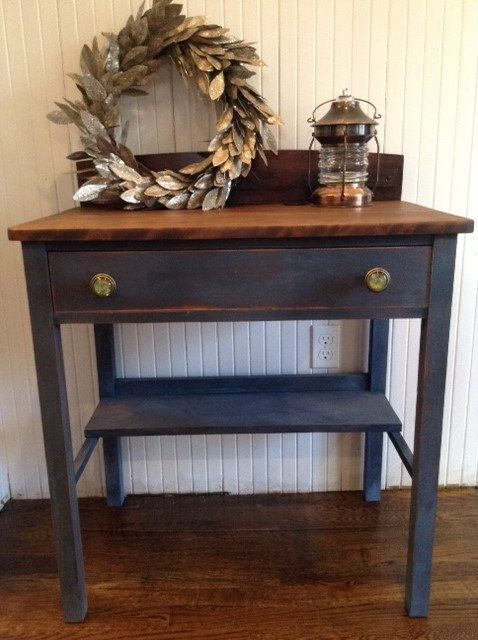 Heywood Wakefield Company Desk Hand Painted in Blue Milk Paint on Etsy
