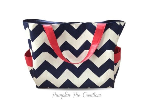 Large Nappy Bag in Navy Chevron and Red. Handmade in Melbourne, Australia. $80 AUD  https://www.etsy.com/au/listing/176642287/large-chevron-nappy-bag-diaper-bag-navy