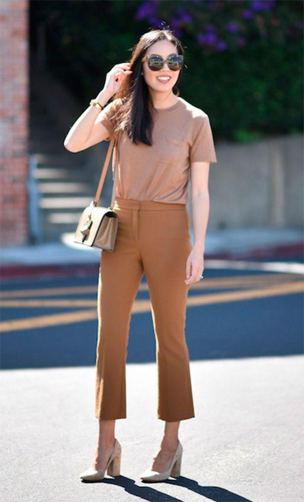 Street style look marrom/caramelo monocromático